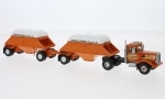 Modellauto - <strong>Peterbilt</strong> 281 SBFA Needle Nose, orange, with Bottom Dump Trailer (closed), 1971