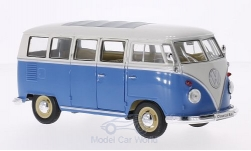 Modellino - <strong>VW</strong> T1 autobus, blu/bianco, 1963<br /><br />Welly, 1:24<br />n. 116745
