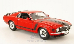 Modelcar - <strong>Ford</strong> Mustang Boss 302, red/Decorated, without showcase, 1970<br /><br />Welly, 1:24<br />No. 116924