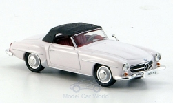 Modellauto - <strong>Mercedes</strong> 190 SL (W121 BII), weiss<br /><br />Ricko, 1:87<br />Nr. 150585
