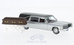 Modelcar - <strong>Cadillac</strong> S&S Landau Hearse, silver/black, Funeral vehicle including Sarg on Fahrgestell, 1966<br /><br />Neo, 1:43<br />No. 171627