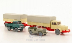 Modelcar - <strong>Set</strong> WIKING-VERKEHRS-MODELLE Nr.7:, Krupp Titan 8 with trailer, Jeep with Zughaken and Unimog<br /><br />Wiking / PMS, 1:87<br />No. 175529