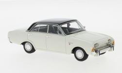 voiture miniature - <strong>Ford</strong> Taunus 17m (P3), blanche/noire, 1960<br /><br />Neo, 1:43<br />N° 185516