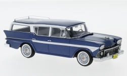 Modellauto - <strong>Rambler</strong> Custom Cross Country 6 Station Wagon, metallic-dunkelblau/weiss, 1958<br /><br />Neo, 1:43<br />Nr. 185540