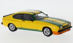 voiture miniature - <strong>Ford</strong> Capri MKII 3.0S X-Pack, jaune/vert, 1976<br /><br />Neo, 1:43<br />N° 185992