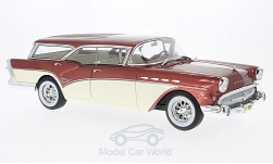 Modelcar - <strong>Buick</strong> Century Caballero Estate, metallic-red/light beige, without showcase, 1957<br /><br />BoS-Models, 1:18<br />No. 194364