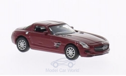 Modelcar - <strong>Mercedes</strong> SLS AMG, dark red<br /><br />Welly, 1:87<br />No. 195297