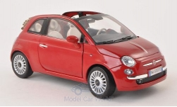 Modellauto - <strong>Fiat</strong> 500 Cabrio, rot<br /><br />Motormax, 1:18<br />Nr. 199268