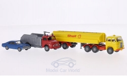 Modelcar - <strong>Set</strong> Berliner years 4:, MAN tank semi-trailer Shell, M.B. Airport-fire brigade and Opel Commodore A Coupe<br /><br />Wiking / PMS, 1:87<br />No. 202525