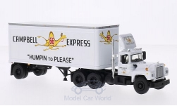 Modellauto - <strong>Mack</strong> R Model, Campbell Express, mit 28-Kofferanhänger<br /><br />First Gear, 1:64<br />Nr. 207824