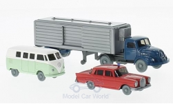 Modelcar - <strong>Set</strong> WIKING-VERKEHRS-MODELLE Nr.59:, VW T1 bus, MB 220  S and  Magirus Kühlsattelzug<br /><br />Wiking / PMS, 1:87<br />No. 209372