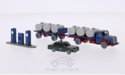 Modelcar - <strong>Set</strong> WIKING-VERKEHRS-MODELLE Nr.53:, Ford Taunus 12M police, MB 6600 tanktrailerdevice and gas station<br /><br />Wiking / PMS, 1:87<br />No. 209375