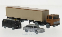 Modelcar - <strong>Set</strong> WIKING-VERKEHRS-MODELLE Nr.54:, MB 1620 box wagon truck trailer, VW 411 and VW T2 bus taxi<br /><br />Wiking / PMS, 1:87<br />No. 209376