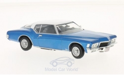 Modelo de coche - <strong>Buick</strong> Riviera Coupe, metallic-azul/blanco, 1972<br /><br />WhiteBox, 1:43<br />Nº 209622