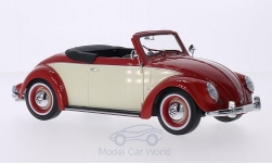 Modelcar - <strong>VW</strong> beetle 1200 Hebmüller Convertible, red/light beige, doors and hoods are nicht to open, Softtop and Persenning liegen by, 1949<br /><br />KK-Scale, 1:18<br />No. 213616