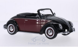 Modelcar - <strong>VW</strong> beetle 1200 Hebmüller Convertible, black/dark red, 1949<br /><br />KK-Scale, 1:18<br />No. 213617