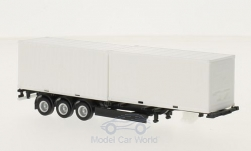Modellauto - <strong>Auflieger</strong> 40 ft. Containerchassis, weiss/schwarz, mit 2x20 ft. Container<br /><br />Herpa, 1:87<br />Nr. 214099