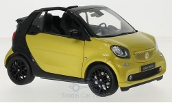 Modelcar - <strong>Smart</strong> fortwo Cabrio (A453), metallic-gelb/schwarz, Softtop liegt bei<br /><br />I-Norev, 1:18<br />No. 215618