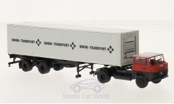 ModelCar - <strong>Henschel</strong> HS 16 TS Union Transport, 40ft-Container-SZ<br /><br />Brekina, 1:87<br />No. 216111