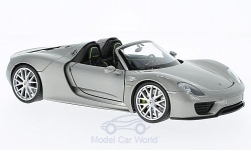 Modellino - <strong>Porsche</strong> 918 Spyder, argento, aperto<br /><br />Welly, 1:24<br />n. 217199