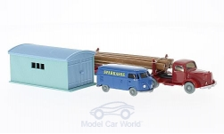 Modelcar - <strong>Set</strong> WIKING-VERKEHRS-MODELLE Nr.61:, Mercedes L 5000, VW T1 box wagon and Wellblechgarage<br /><br />Wiking / PMS, 1:87<br />No. 217570