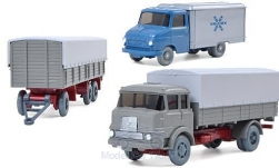 Modelcar - <strong>Set</strong> WIKING-VERKEHRS-MODELLE Nr.62:, Opel Blitz A, Krupp LF 806 and 3-Achs-trailer<br /><br />Wiking / PMS, 1:87<br />No. 217572
