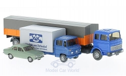 Modelcar - <strong>Set</strong> Berliner years 11:, Ford Escort MkI, MB 2223 Pr-SZ and MB L 608 box-wagon<br /><br />Wiking / PMS, 1:87<br />No. 217574