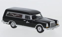 Modelcar - <strong>Mercedes</strong> 600 (W100) Pollmann, black, hearse, 1969<br /><br />BoS-Models, 1:87<br />No. 217927