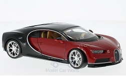 voiture miniature - <strong>Bugatti</strong> Chiron, rouge/noire, 2016<br /><br />Welly, 1:24<br />N° 218704