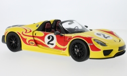 Modellauto - <strong>Porsche</strong> 918 Spyder geel/rood, Weissach-Package No.2, Weissach Package, 2015<br /><br />Minichamps, 1:18<br />Nr. 219410