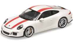 Modellauto - <strong>Porsche</strong> 911 (991) R, weiss/rot, 2016<br /><br />Minichamps, 1:12<br />Nr. 219461