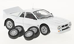 Modelcar - <strong>Lancia</strong> 037 Rally Evo, white, Plain Body Version, including 4 Ersatzräder, 1985<br /><br />IXO, 1:43<br />No. 220865