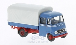 Modelcar - <strong>Mercedes</strong> L 319, blue/red, flatbed platform trailer-cover<br /><br />Brekina Starmada, 1:87<br />No. 221581