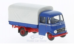 Modelcar - <strong>Mercedes</strong> L 319, blue/red, flatbed platform trailer-cover<br /><br />Brekina Starmada, 1:87<br />No. 221582