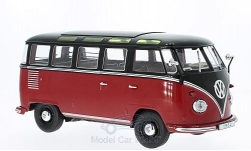 Modelcar - <strong>VW</strong> T1, dark red/black, samba, 1962<br /><br />KK-Scale, 1:18<br />No. 221722