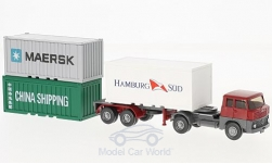 Modelcar - <strong>Set</strong> Berliner years 12:, Henschel Containersattelzug, 20ft Norm-container, 20ft steel-container and 20ft-Open-Top-container<br /><br />Wiking / PMS, 1:87<br />No. 223365