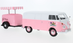 Modelcar - <strong>VW</strong> T1 box wagon, pink/white, box wagon with Kühlanhänger<br /><br />Motormax, 1:24<br />No. 226036