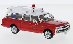 Modellauto - <strong>Chevrolet</strong>  Suburban Ambulance, rot/weiss, Hillside Fire Department, 1970<br /><br />Neo, 1:43<br />Nr. 230016