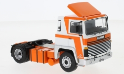Modelcar - <strong>Scania</strong> LBT 141, white/orange, with Dachspoiler, 1976<br /><br />IXO, 1:43<br />No. 231021