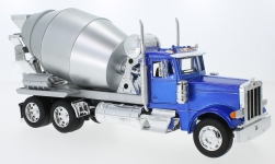 Modelcar - <strong>Peterbilt</strong> 379, metallic-blue/silver, cement mixer<br /><br />Welly, 1:32<br />No. 231040