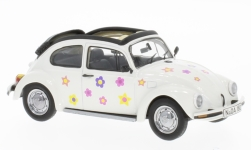 Modellauto - <strong>VW</strong> Kever Open Air, wit, met Bloemen-Decor<br /><br />Schuco, 1:43<br />Nr. 231118