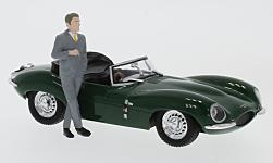 Modellauto - <strong>Jaguar</strong> XKSS, grün, RHD, Steve McQueen Collection, mit Fahrer Figur, 1957<br /><br />Greenlight, 1:43<br />Nr. 231505
