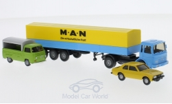 Modelcar - <strong>Set</strong> Berliner years 15:, VW T2 flatbed platform trailer, Opel Ascona B and MAN flatbed platform trailer<br /><br />Wiking / PMS, 1:87<br />No. 232165