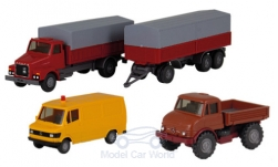 Modelcar - <strong>Set</strong> Berliner years 16:, Mercedes 207 D box wagon, Unimog U 406 and Volvo N10 Stahlpritschen-HZ<br /><br />Wiking / PMS, 1:87<br />No. 233085