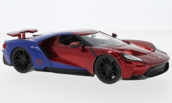 Modellauto - <strong>Ford</strong> GT, rot/blau, Marvel Avengers - Spider Man, mit Figur, 2017<br /><br />Jada, 1:24<br />Nr. 233445