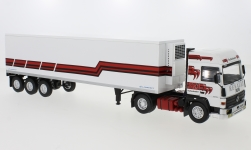 Modelcar - <strong>Renault</strong> R370 Turboleader, white/red, refrigerated container-trailer truck, 1986<br /><br />IXO, 1:43<br />No. 233628