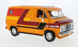 Modellauto - <strong>Chevrolet</strong> G-Serie Van, oranje/Decor, 1976<br /><br />Highway 61, 1:18<br />Nr. 233769