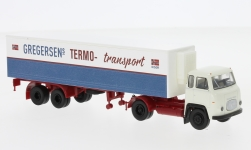 Modelcar - <strong>Scania</strong> LB 76, Gregersen (NO), refrigerated container-SZ<br /><br />Brekina, 1:87<br />No. 234029