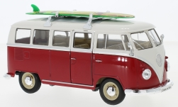 Modelcar - <strong>VW</strong> T1 bus red/white, with roof rack and Surfboard, 1963<br /><br />Welly, 1:24<br />No. 234104