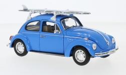 Modelcar - <strong>VW</strong> beetle, blue, with Surfboard, 1972<br /><br />Welly, 1:24<br />No. 234105
